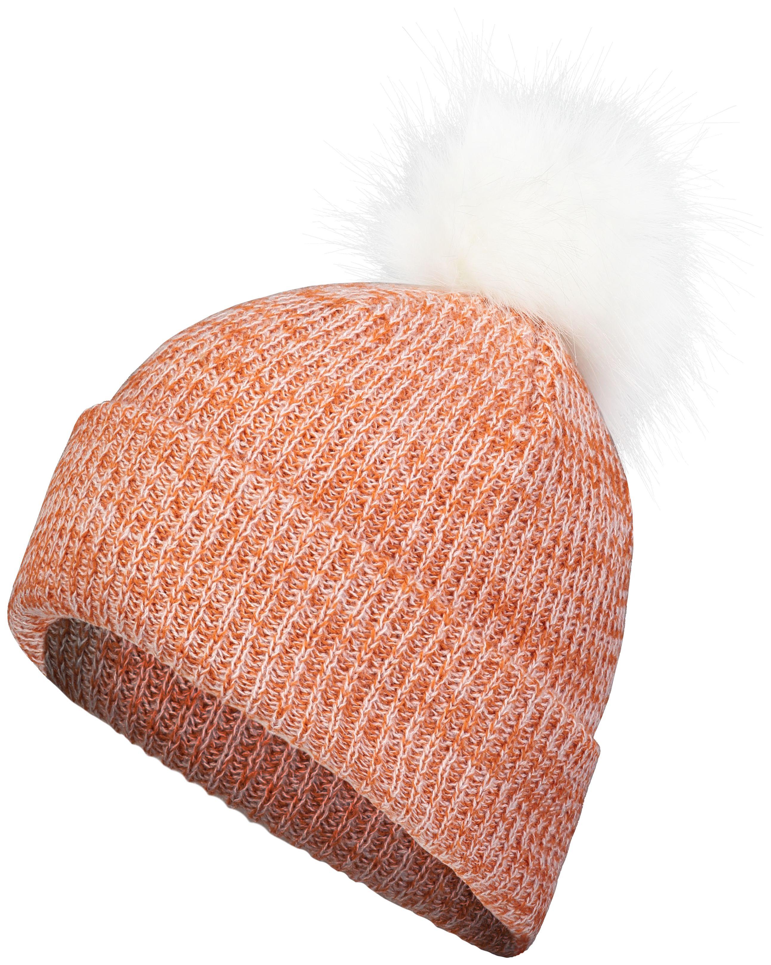 Faux Fur Pom Beanie - TEXAS ORANGE/WHITE