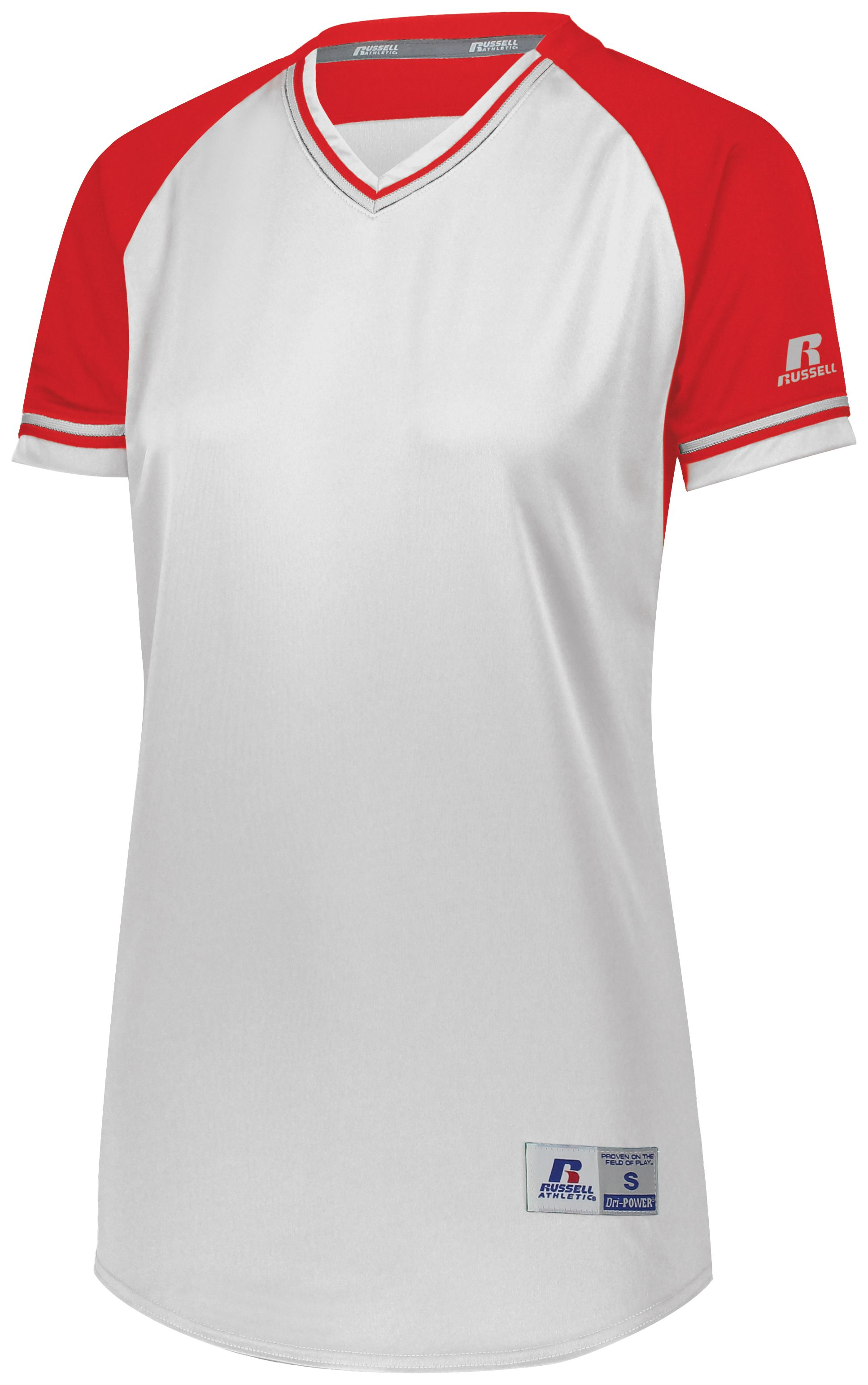 Ladies Classic V-Neck Jersey - White/true Red/white