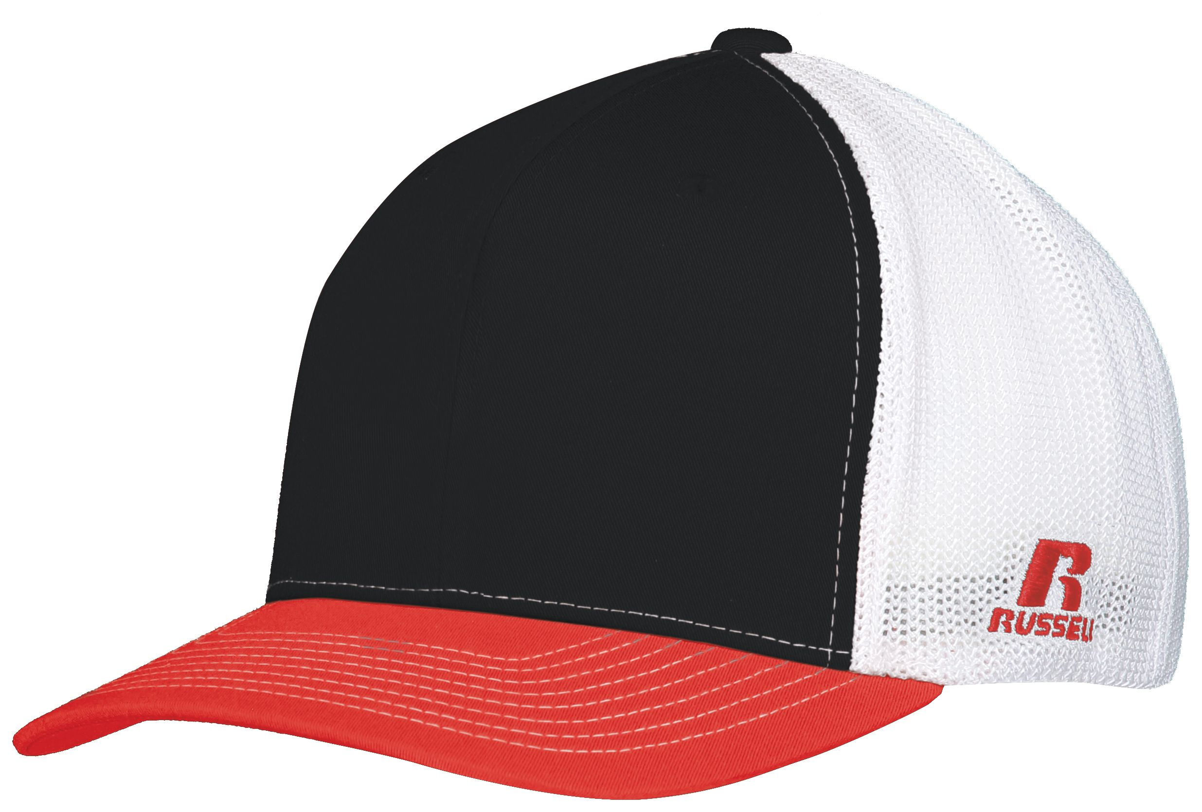 Youth Flexfit Twill Mesh Cap - Black/true Red/white