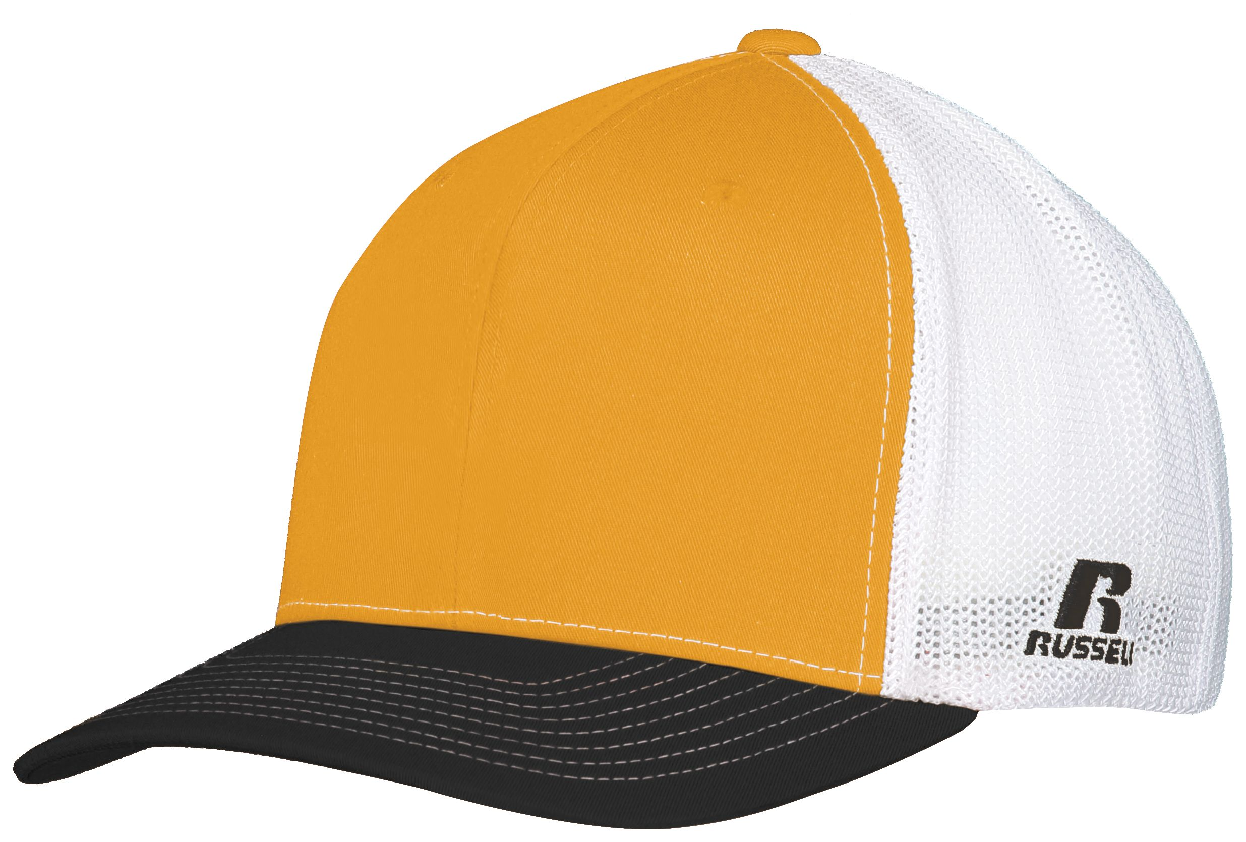Youth Flexfit Twill Mesh Cap - GOLD/BLACK/WHITE