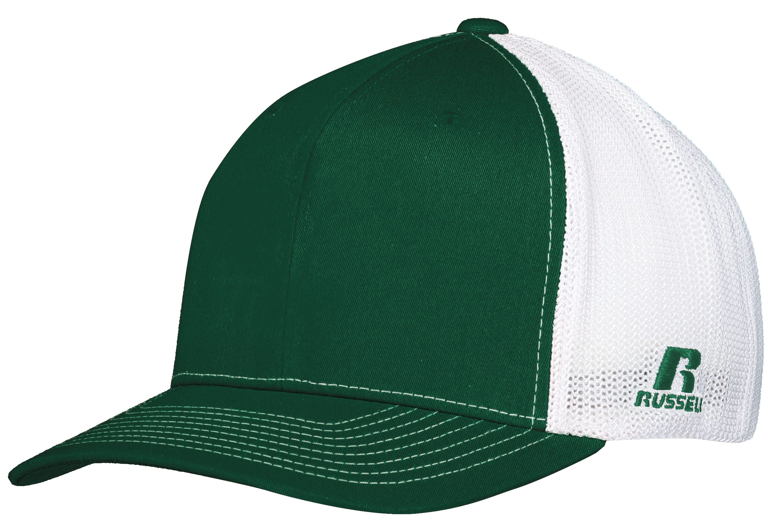 Youth Flexfit Twill Mesh Cap - Dark Green/white