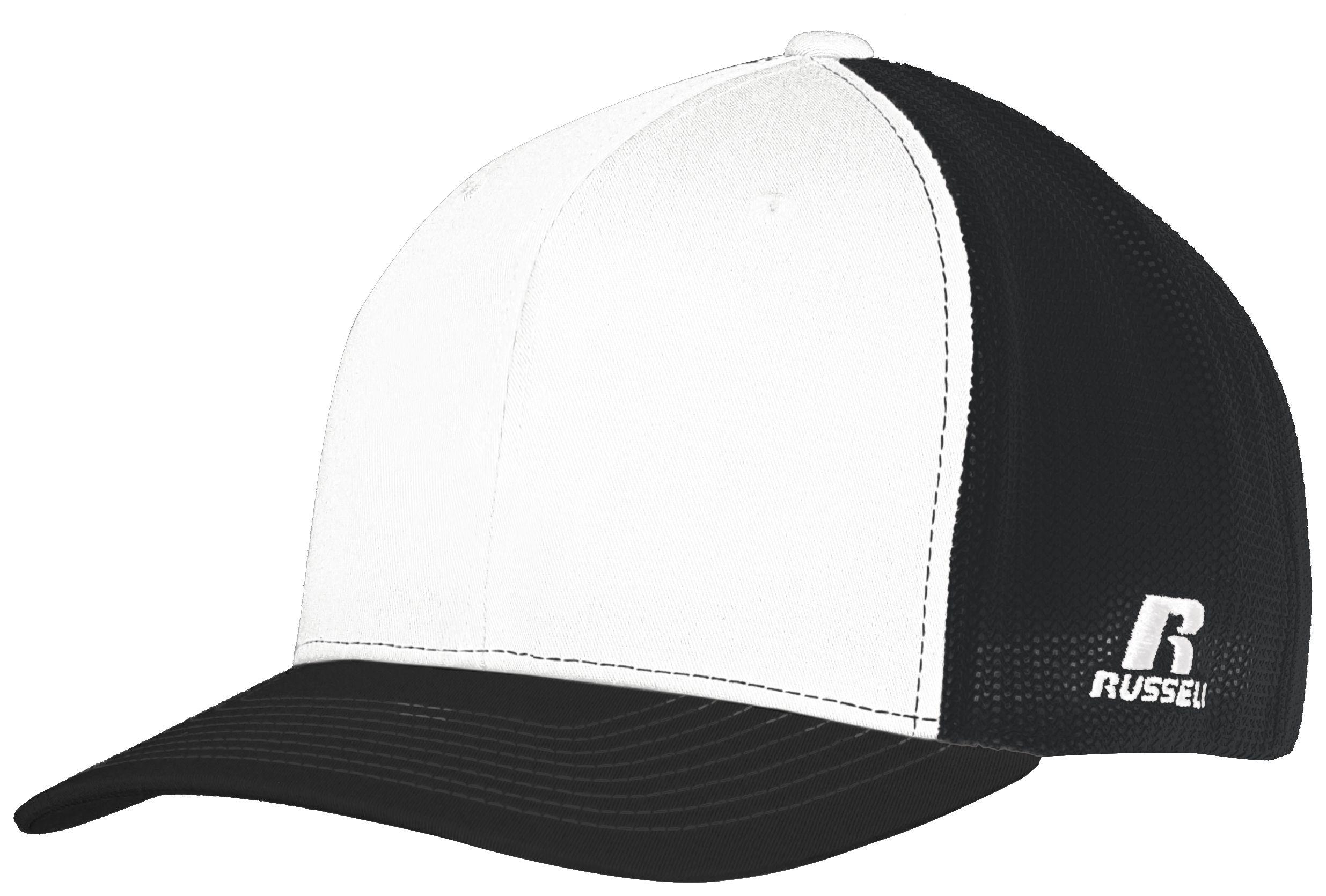 Youth Flexfit Twill Mesh Cap - WHITE/BLACK