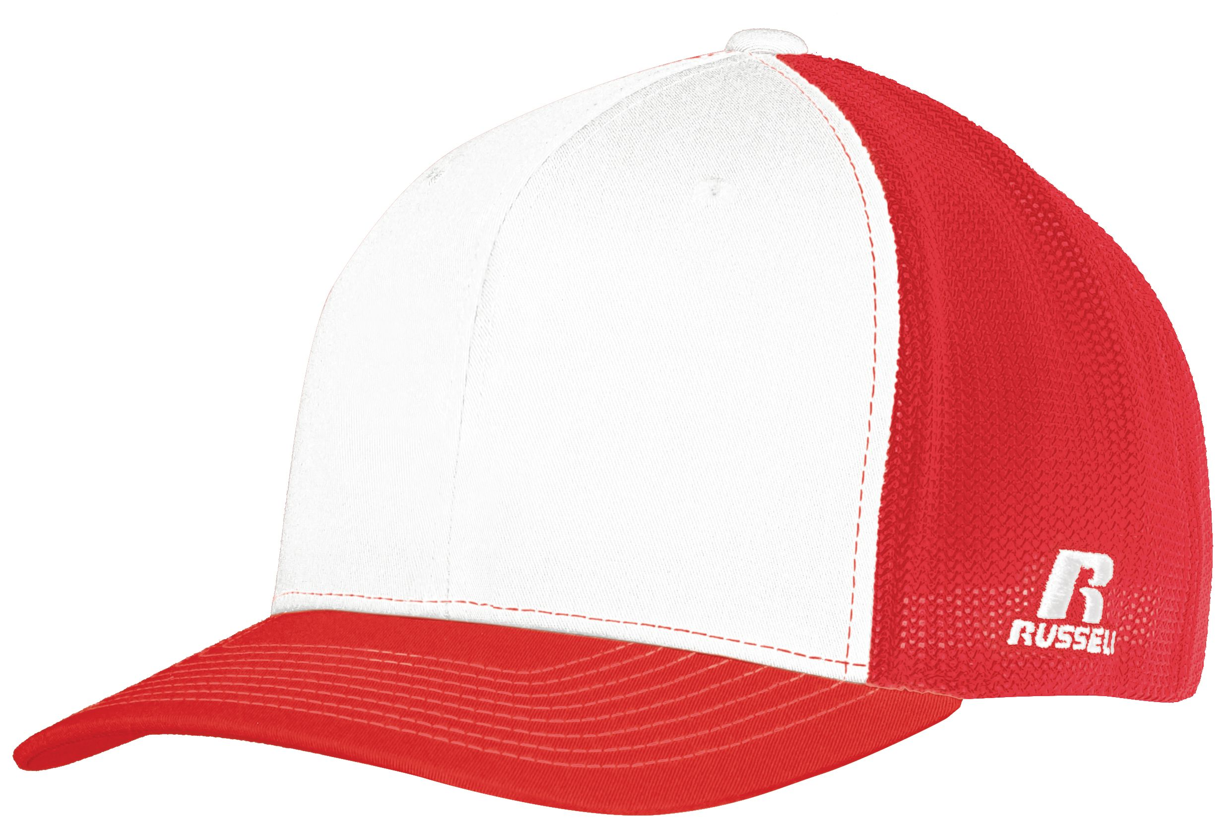Youth Flexfit Twill Mesh Cap - WHITE/TRUE RED