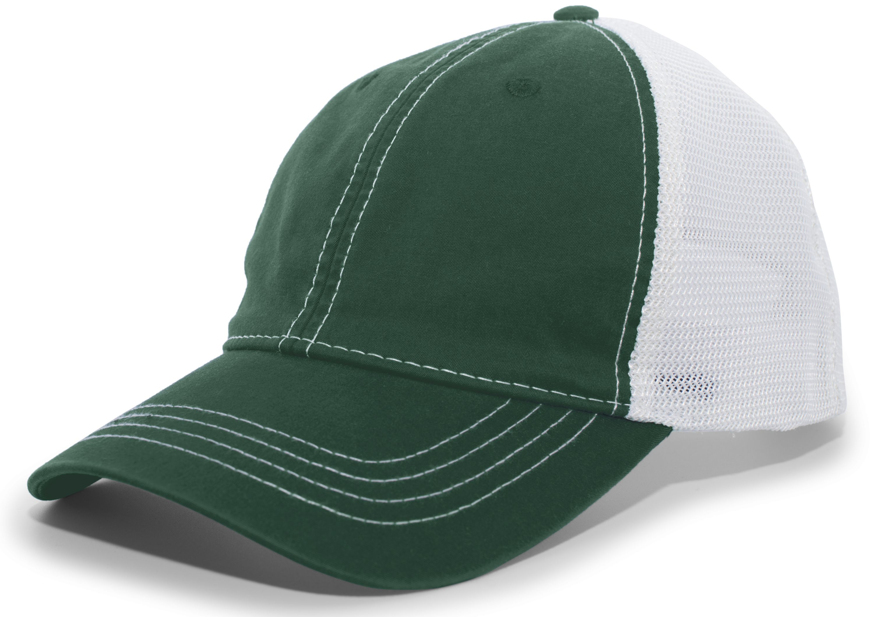 Vintage Trucker Snapback Cap - DARK GREEN/WHITE/DARK GREEN