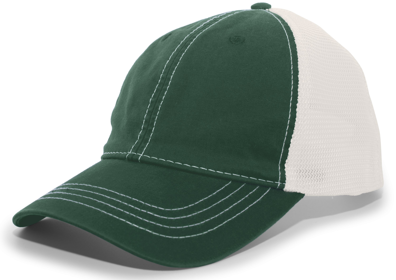 Vintage Trucker Snapback Cap - DARK GREEN/IVORY/DARK GREEN